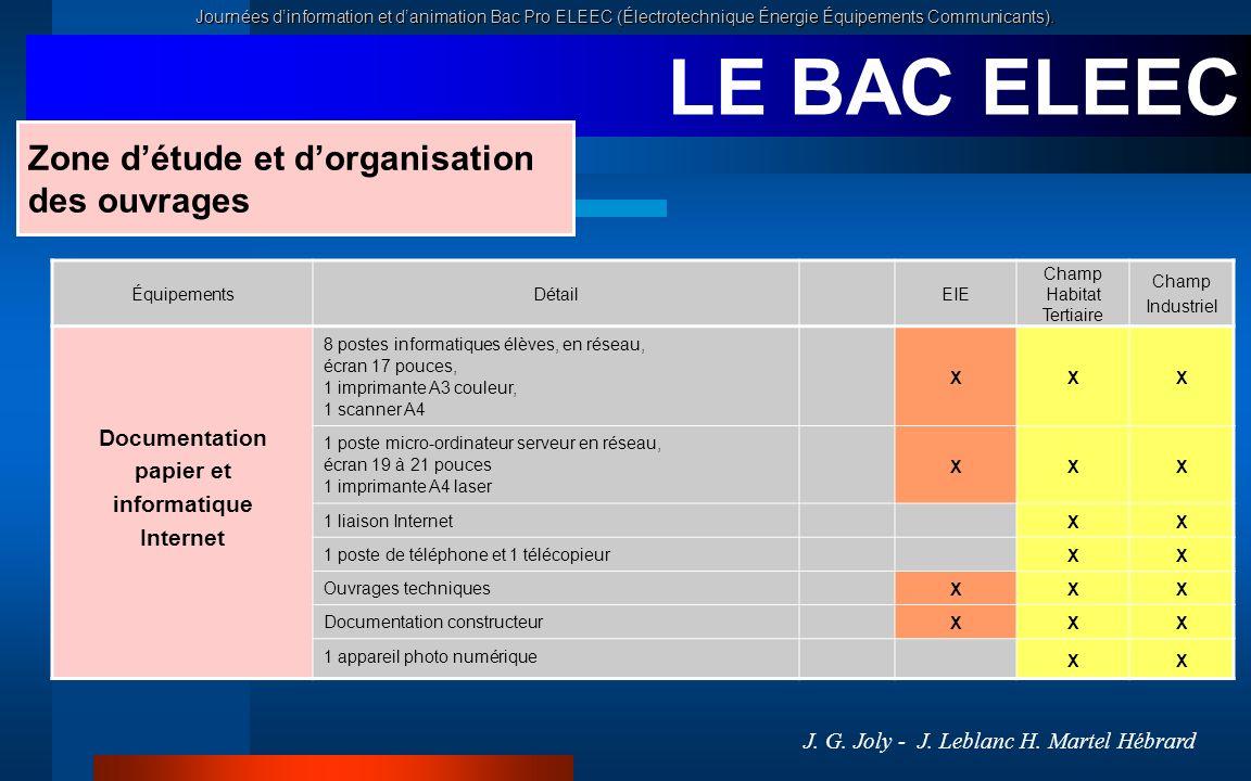 LE BAC ELEEC Zone d'étude et d'organisation des ouvrages Documentation