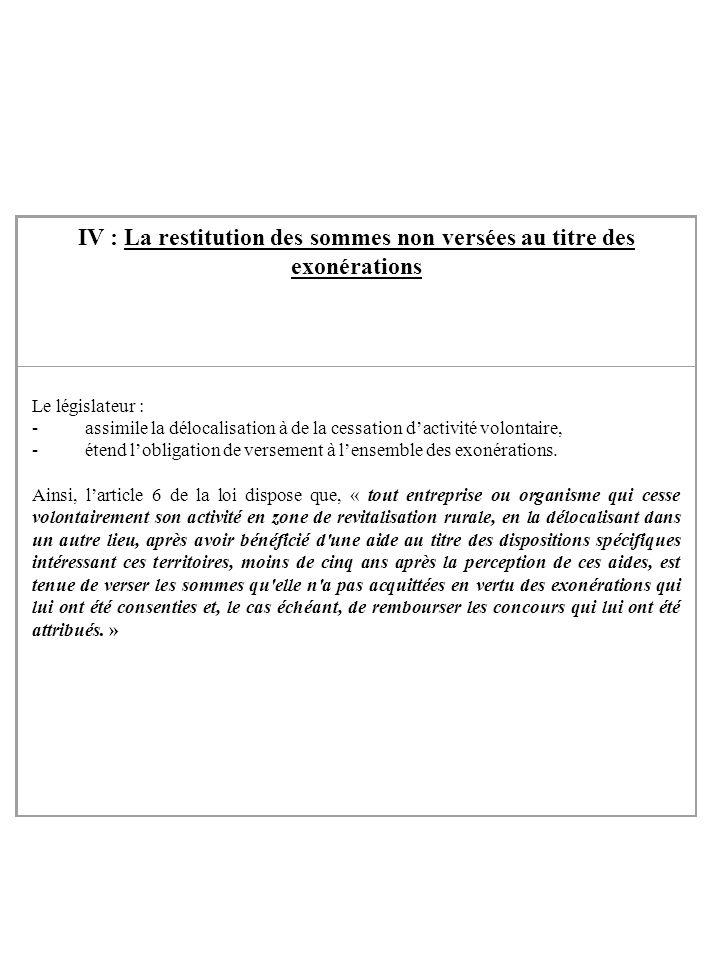 IV : La restitution des sommes non versées au titre des exonérations