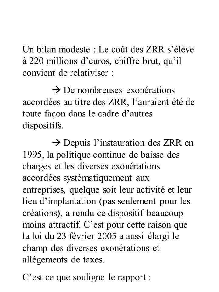Un bilan modeste : Le coût des ZRR s'élève à 220 millions d'euros, chiffre brut, qu'il convient de relativiser :