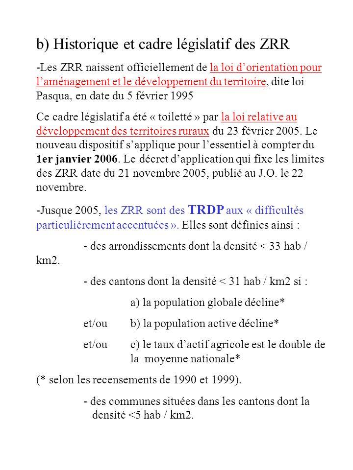 b) Historique et cadre législatif des ZRR