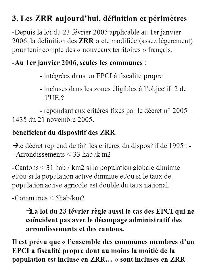 3. Les ZRR aujourd'hui, définition et périmètres