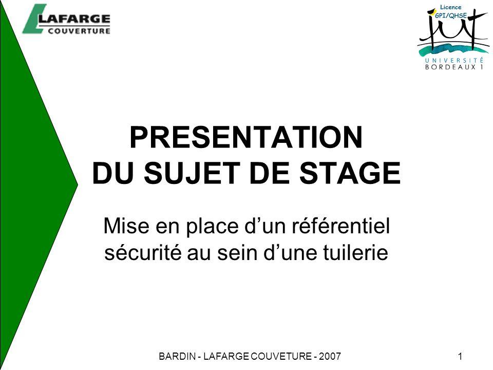 PRESENTATION DU SUJET DE STAGE