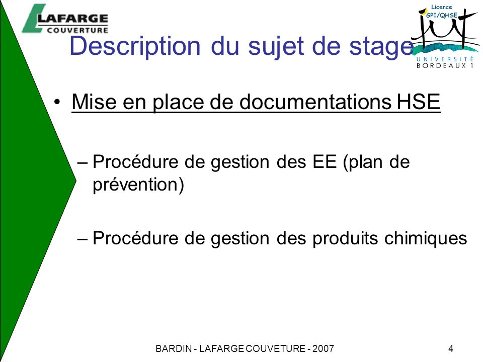 Description du sujet de stage