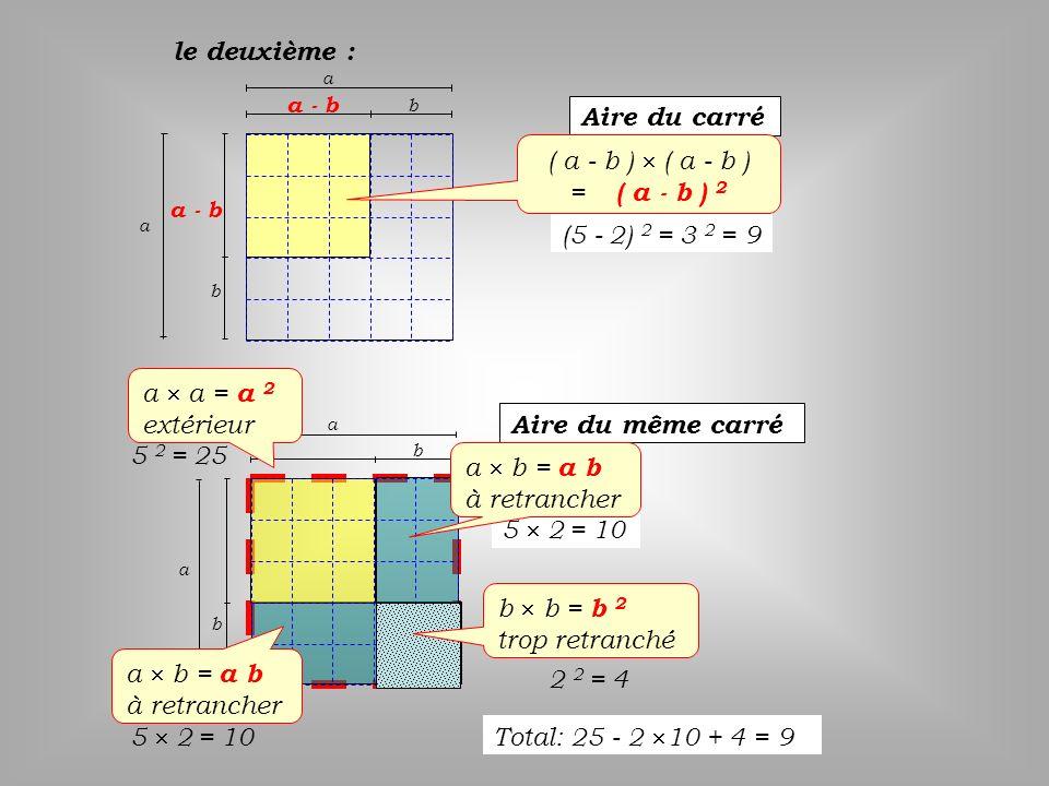 le deuxième : Aire du carré ( a - b )  ( a - b ) = ( a - b ) 2