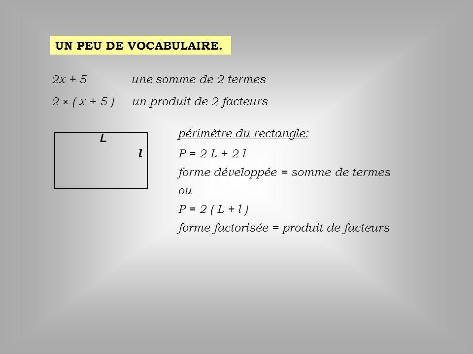 UN PEU DE VOCABULAIRE. 2x + 5. une somme de 2 termes. 2  ( x + 5 ) un produit de 2 facteurs. périmètre du rectangle: