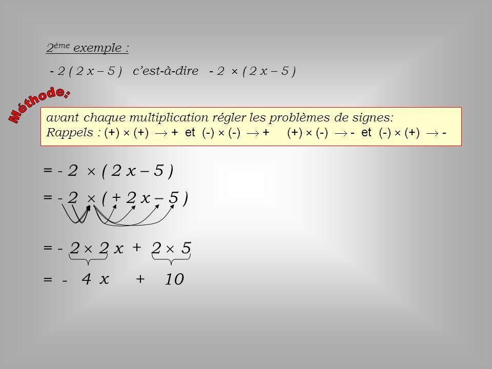 = - 2  ( 2 x – 5 ) = - 2  ( + 2 x – 5 ) = - 2  2 x + 2  5 = - 4 x