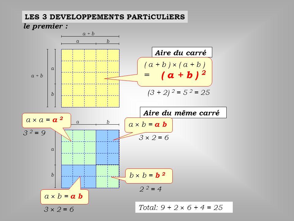= ( a + b ) 2 LES 3 DEVELOPPEMENTS PARTiCULiERS le premier :