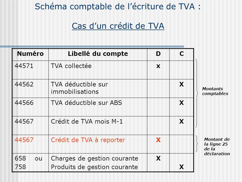 Schéma comptable de l'écriture de TVA : Cas d'un crédit de TVA