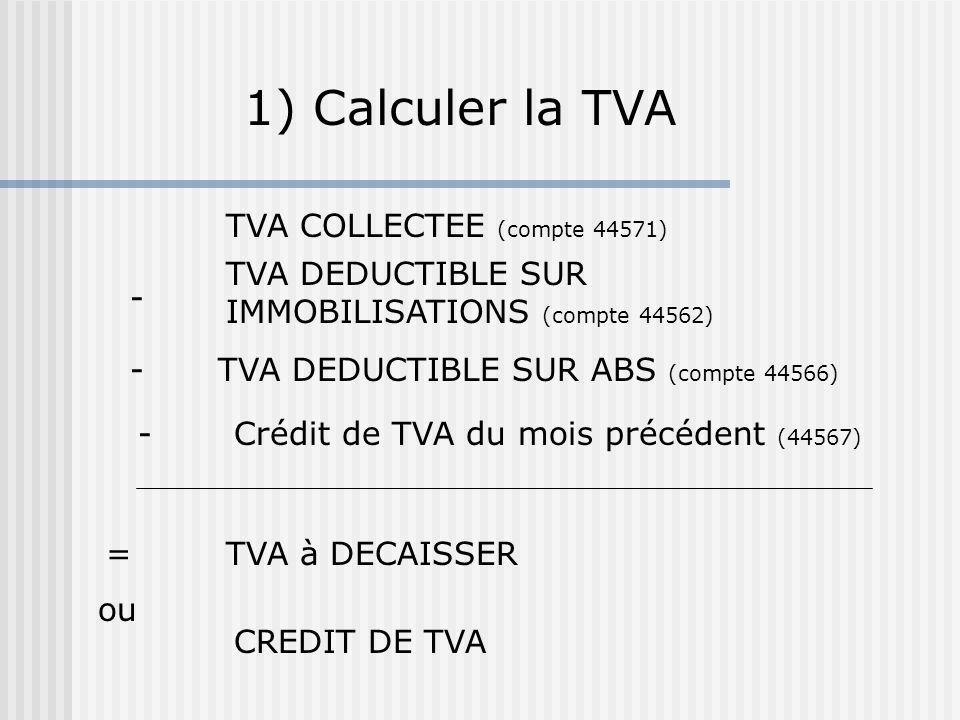 1) Calculer la TVA TVA COLLECTEE (compte 44571)
