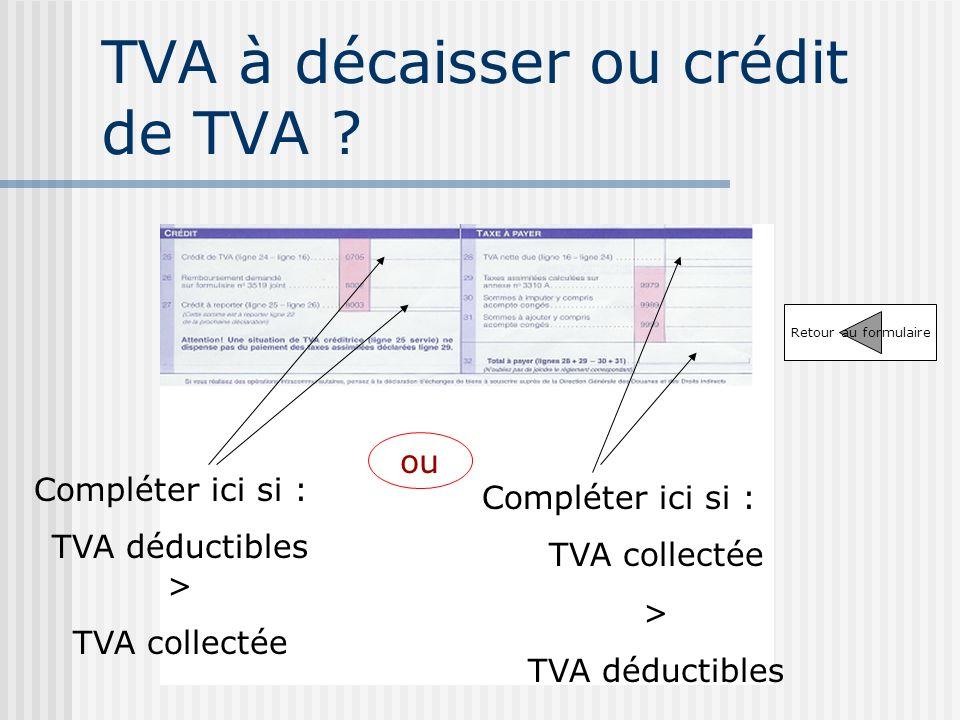 TVA à décaisser ou crédit de TVA
