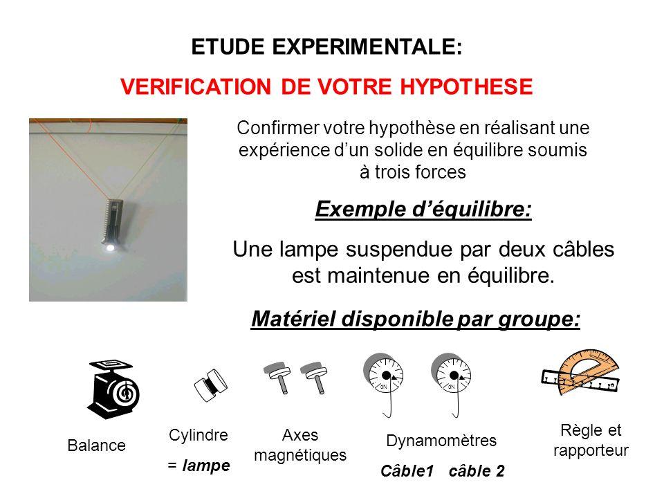 VERIFICATION DE VOTRE HYPOTHESE Matériel disponible par groupe: