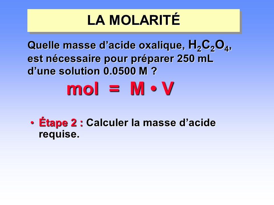 mol = M • V LA MOLARITÉ Quelle masse d'acide oxalique, H2C2O4,
