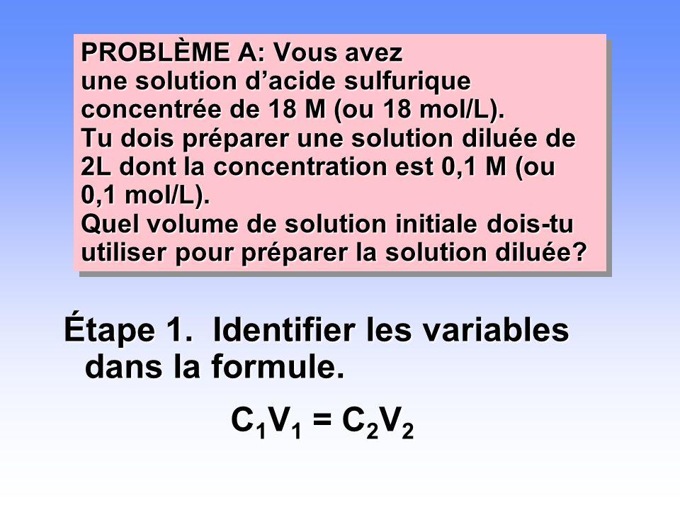 Étape 1. Identifier les variables dans la formule. C1V1 = C2V2