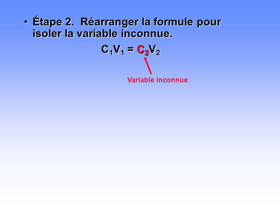 Étape 2. Réarranger la formule pour isoler la variable inconnue.