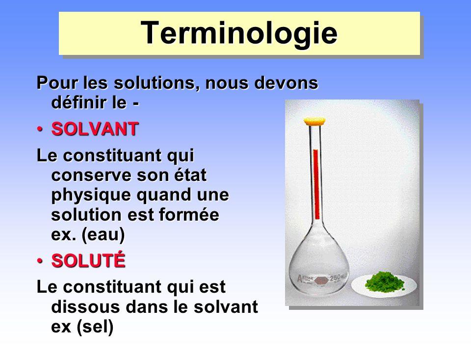 Terminologie Pour les solutions, nous devons définir le - SOLVANT