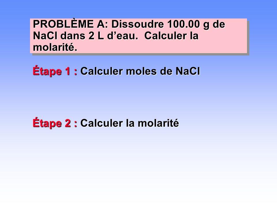 PROBLÈME A: Dissoudre 100. 00 g de NaCl dans 2 L d'eau