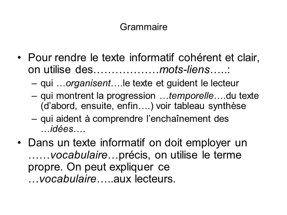 Grammaire Pour rendre le texte informatif cohérent et clair, on utilise des………………mots-liens…..: qui …organisent….le texte et guident le lecteur.