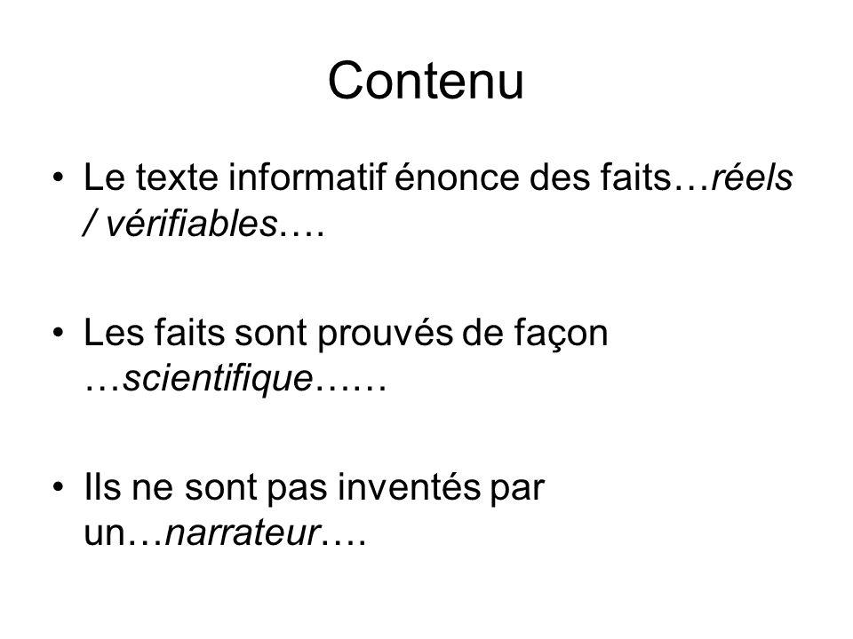 Contenu Le texte informatif énonce des faits…réels / vérifiables….