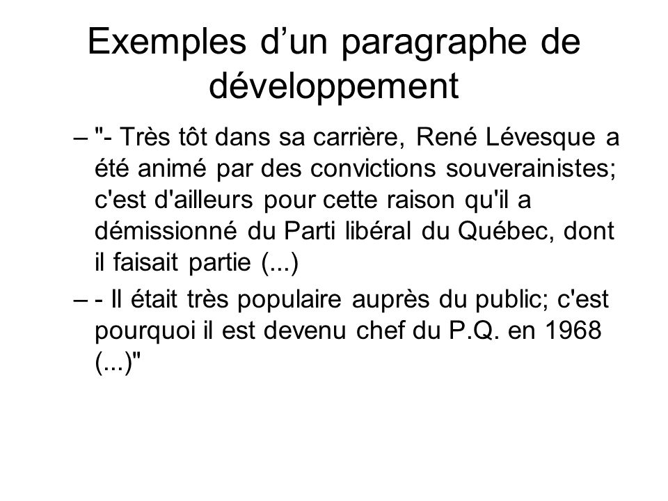 Exemples d'un paragraphe de développement