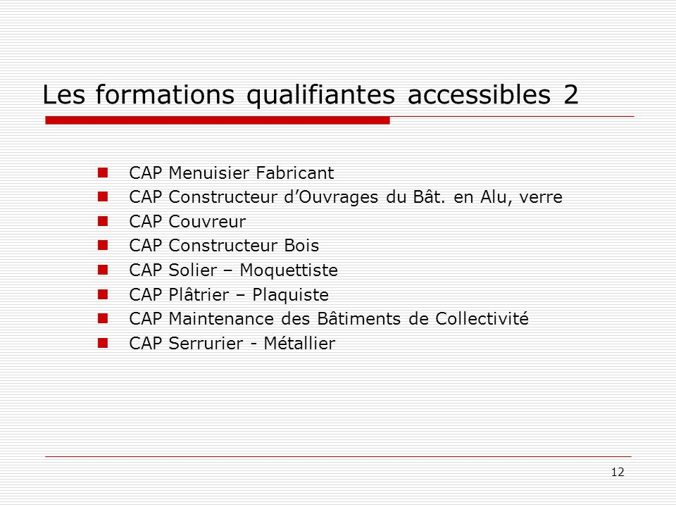 Les formations qualifiantes accessibles 2