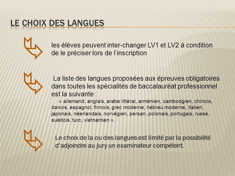    LE CHOIX DES LANGUES