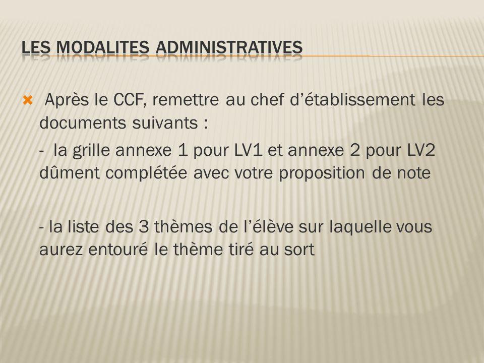 Les modalites administratives