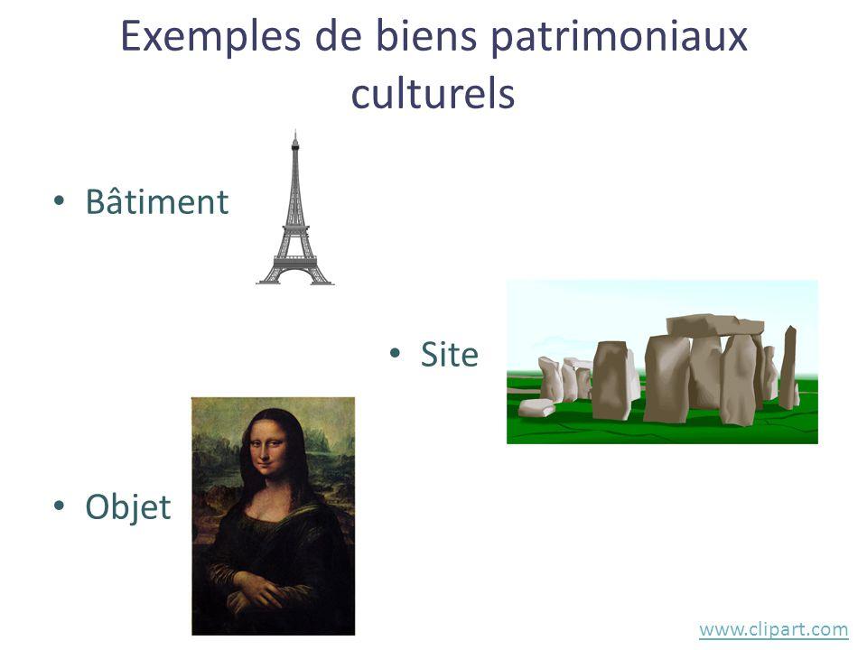 Exemples de biens patrimoniaux culturels