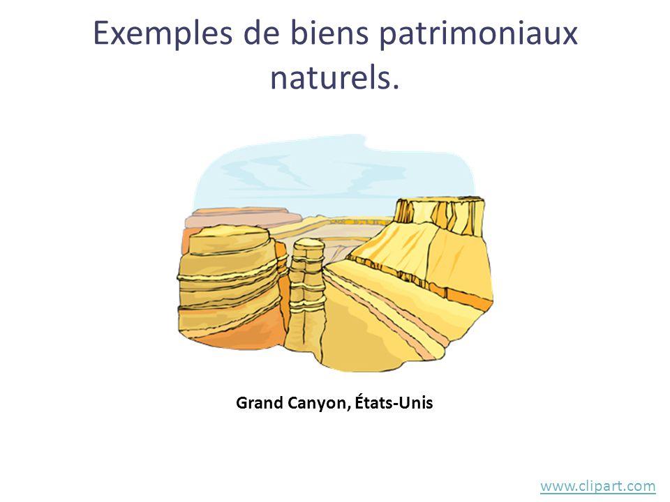 Exemples de biens patrimoniaux naturels.