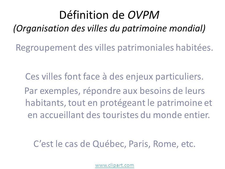 Définition de OVPM (Organisation des villes du patrimoine mondial)