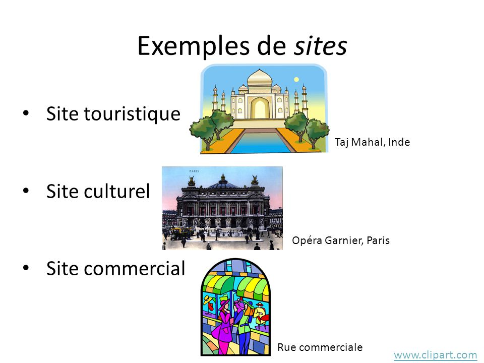 Exemples de sites Site touristique Site culturel Site commercial