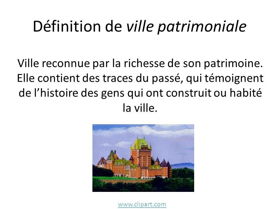 Définition de ville patrimoniale