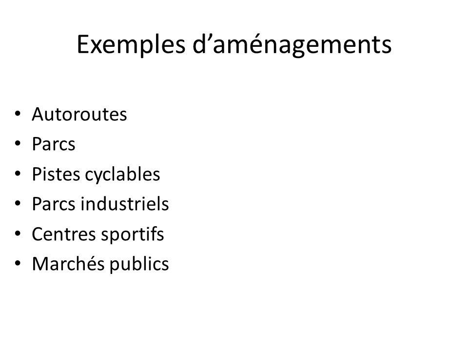 Exemples d'aménagements