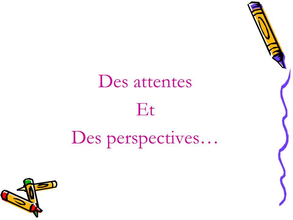 Des attentes Et Des perspectives…
