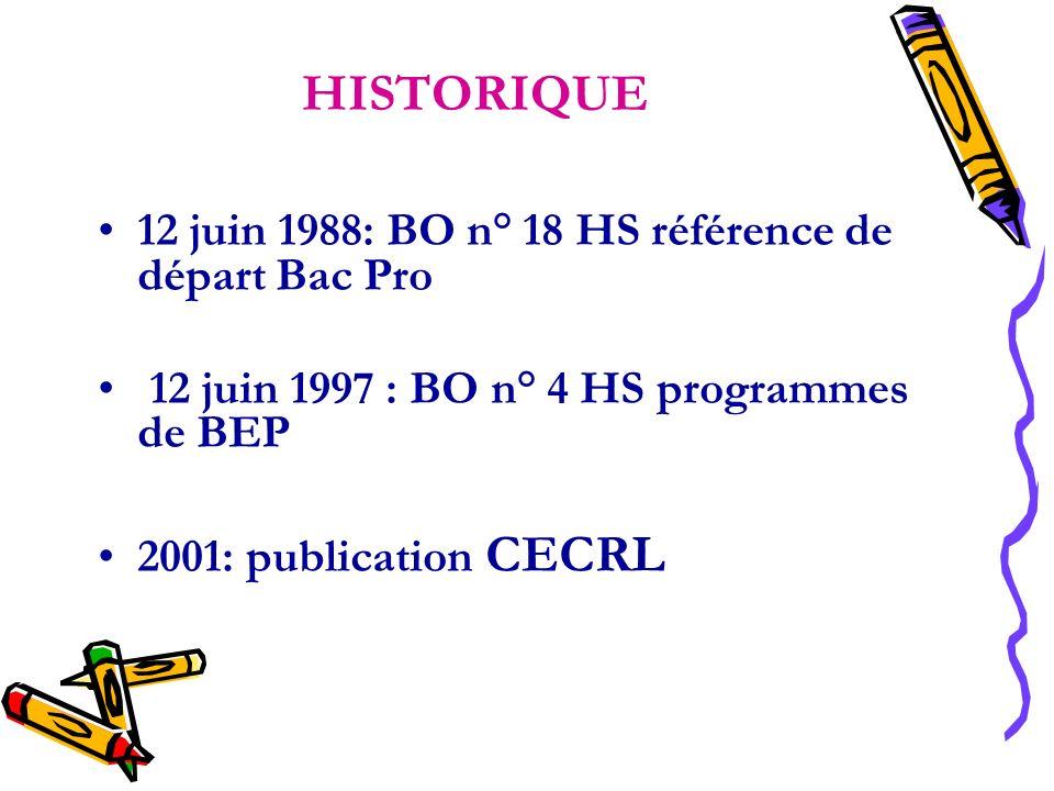 HISTORIQUE 12 juin 1988: BO n° 18 HS référence de départ Bac Pro