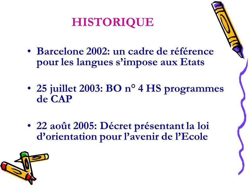 HISTORIQUE Barcelone 2002: un cadre de référence pour les langues s'impose aux Etats. 25 juillet 2003: BO n° 4 HS programmes de CAP.