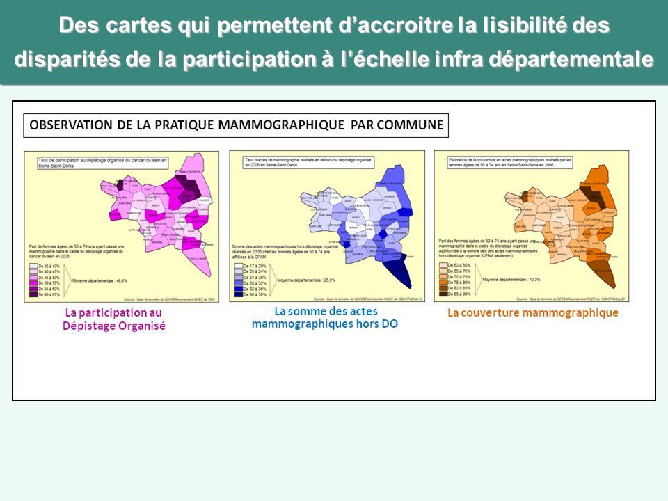 Des cartes qui permettent d'accroitre la lisibilité des disparités de la participation à l'échelle infra départementale