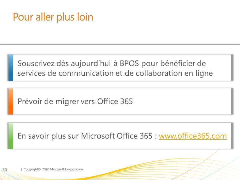 Pour aller plus loin Souscrivez dès aujourd'hui à BPOS pour bénéficier de services de communication et de collaboration en ligne.