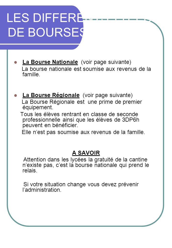 LES DIFFERENTS TYPES DE BOURSES EN LYCEE