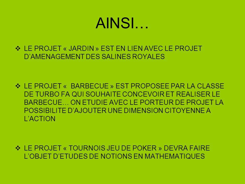 AINSI…LE PROJET « JARDIN » EST EN LIEN AVEC LE PROJET D'AMENAGEMENT DES SALINES ROYALES.