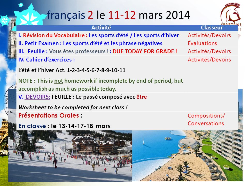 français 2 le 11-12 mars 2014 Activité Classeur