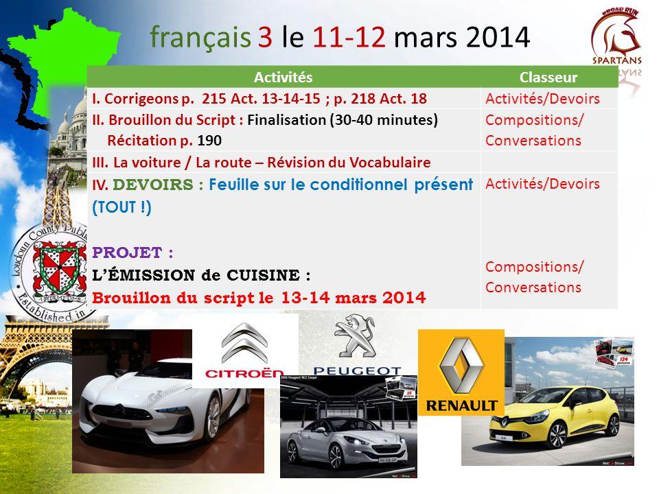 français 3 le 11-12 mars 2014 Activités Classeur