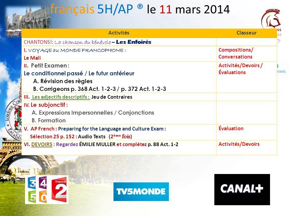français 5H/AP ® le 11 mars 2014 Activités Classeur