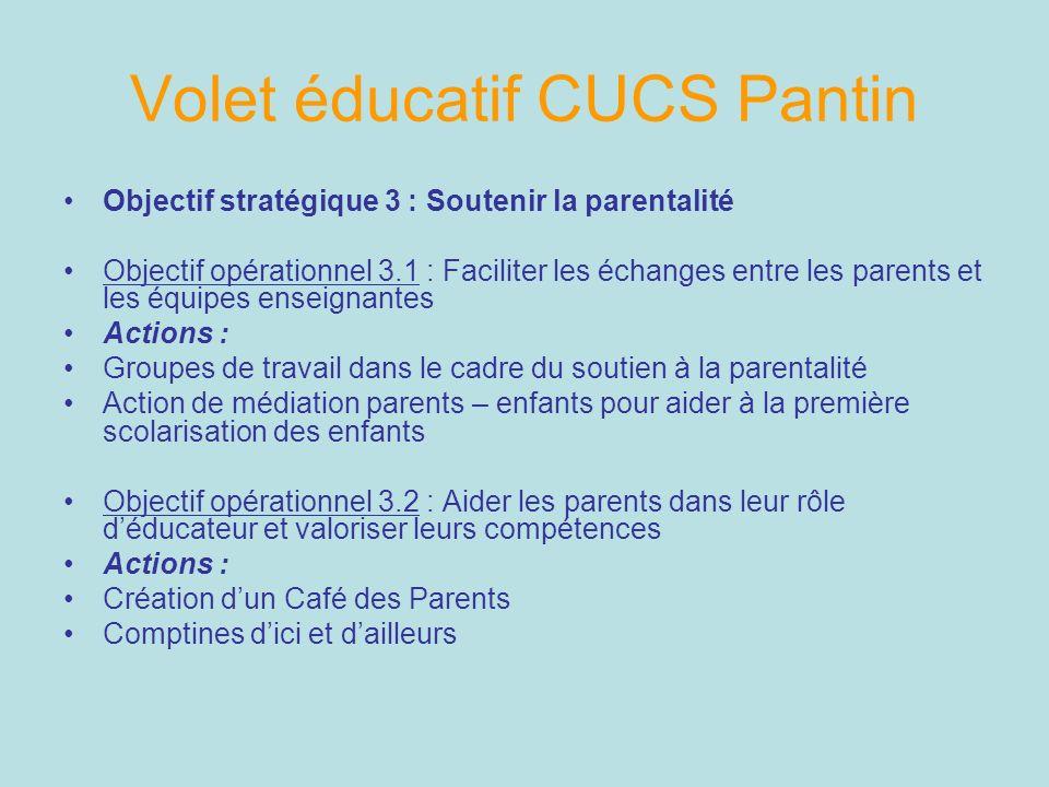 Volet éducatif CUCS Pantin