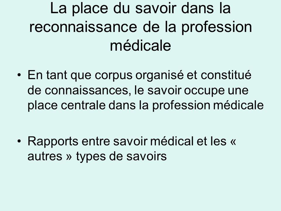 La place du savoir dans la reconnaissance de la profession médicale