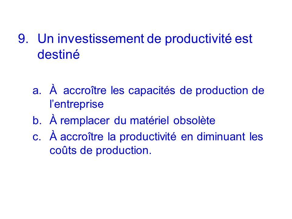 Un investissement de productivité est destiné