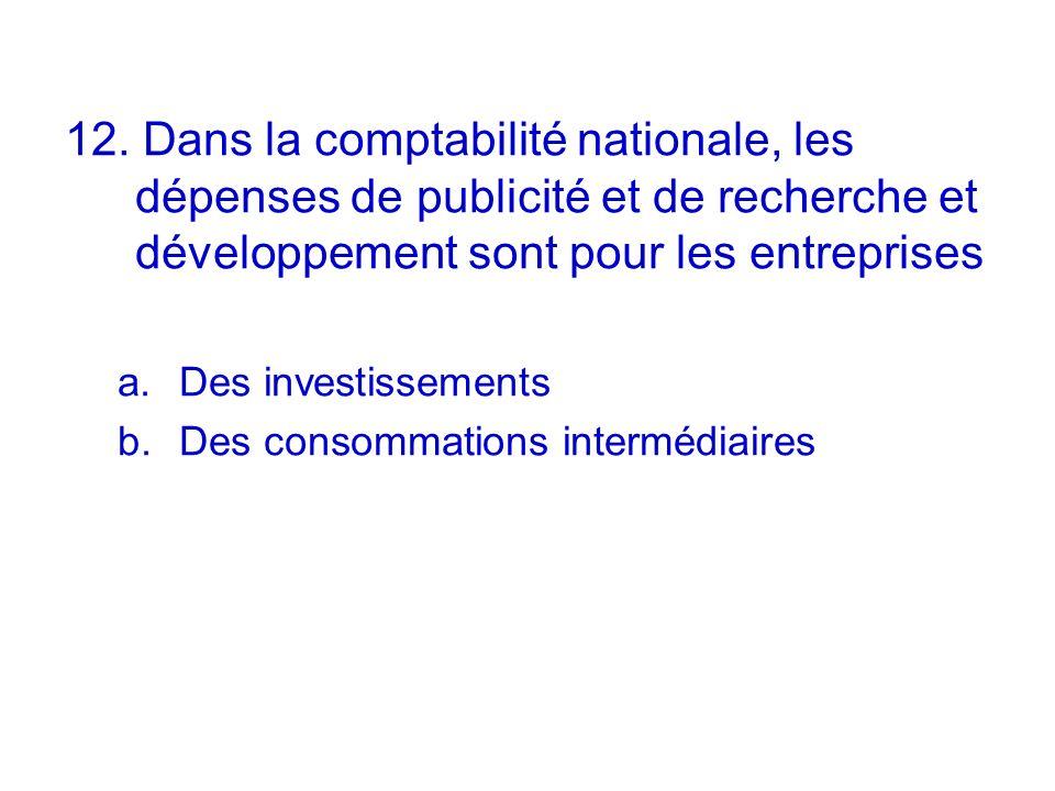 12. Dans la comptabilité nationale, les dépenses de publicité et de recherche et développement sont pour les entreprises