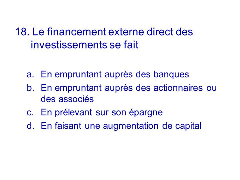 18. Le financement externe direct des investissements se fait