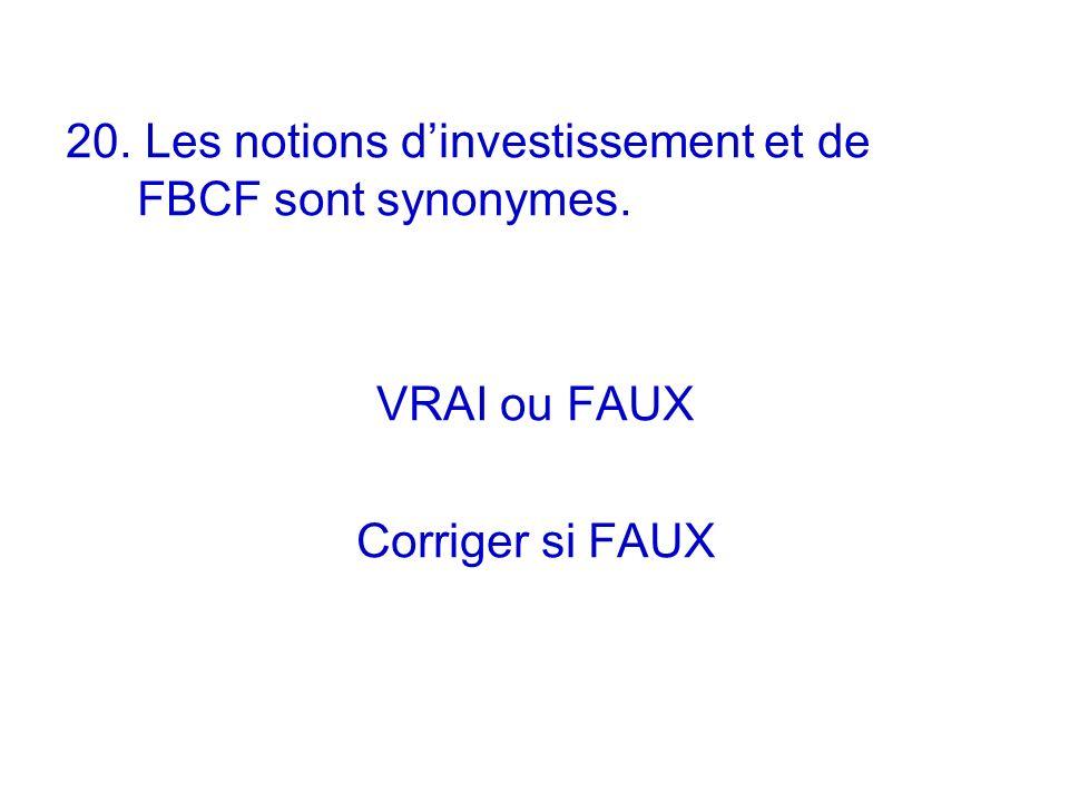 20. Les notions d'investissement et de FBCF sont synonymes.