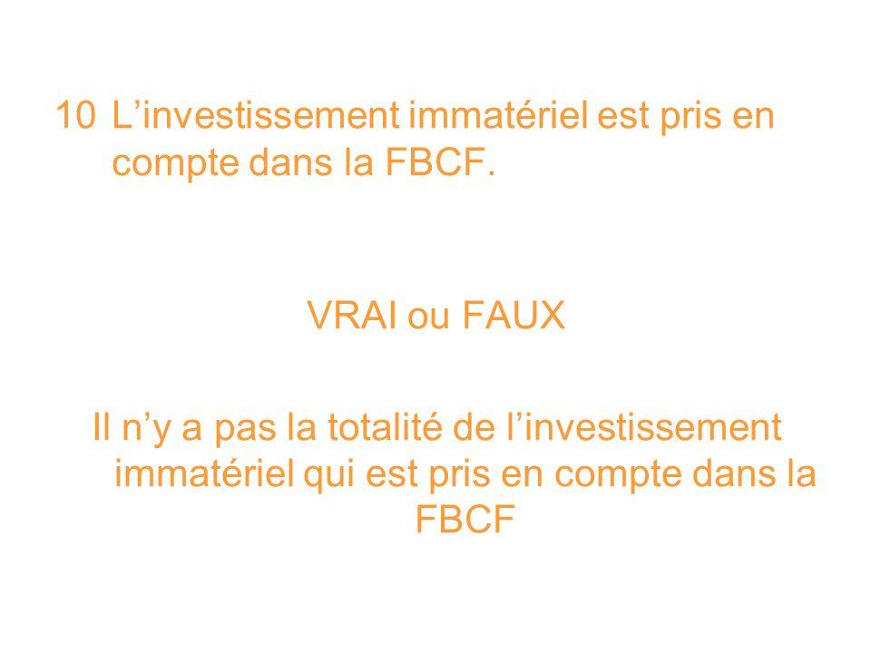 10 L'investissement immatériel est pris en compte dans la FBCF.