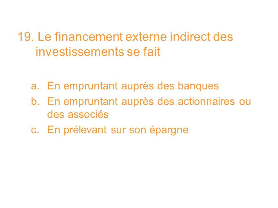 19. Le financement externe indirect des investissements se fait